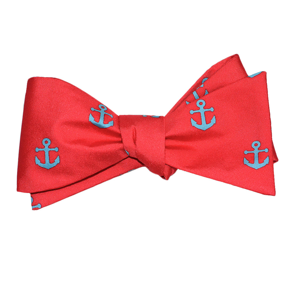 Anchor Bow Tie - Light Blue on Coral, Printed Silk - SummerTies
