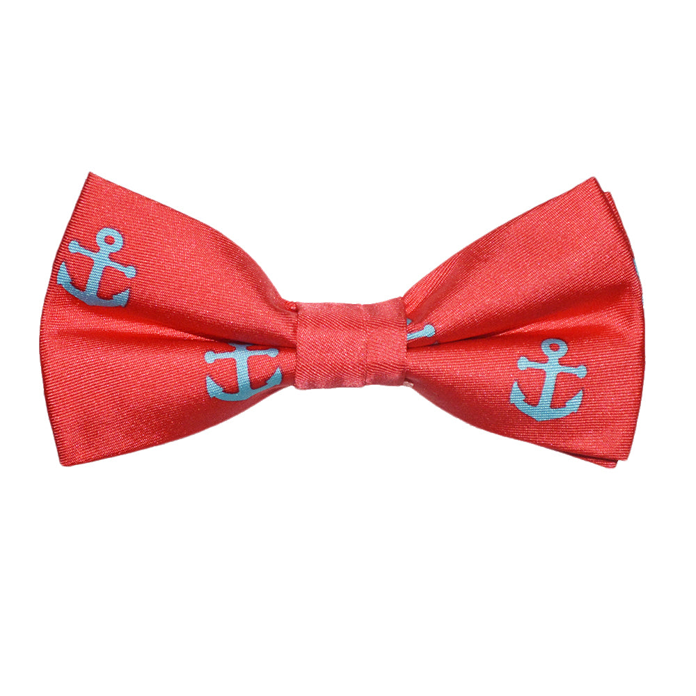 Anchor Bow Tie - Light Blue on Coral, Printed Silk, Pre-Tied for Kids - SummerTies