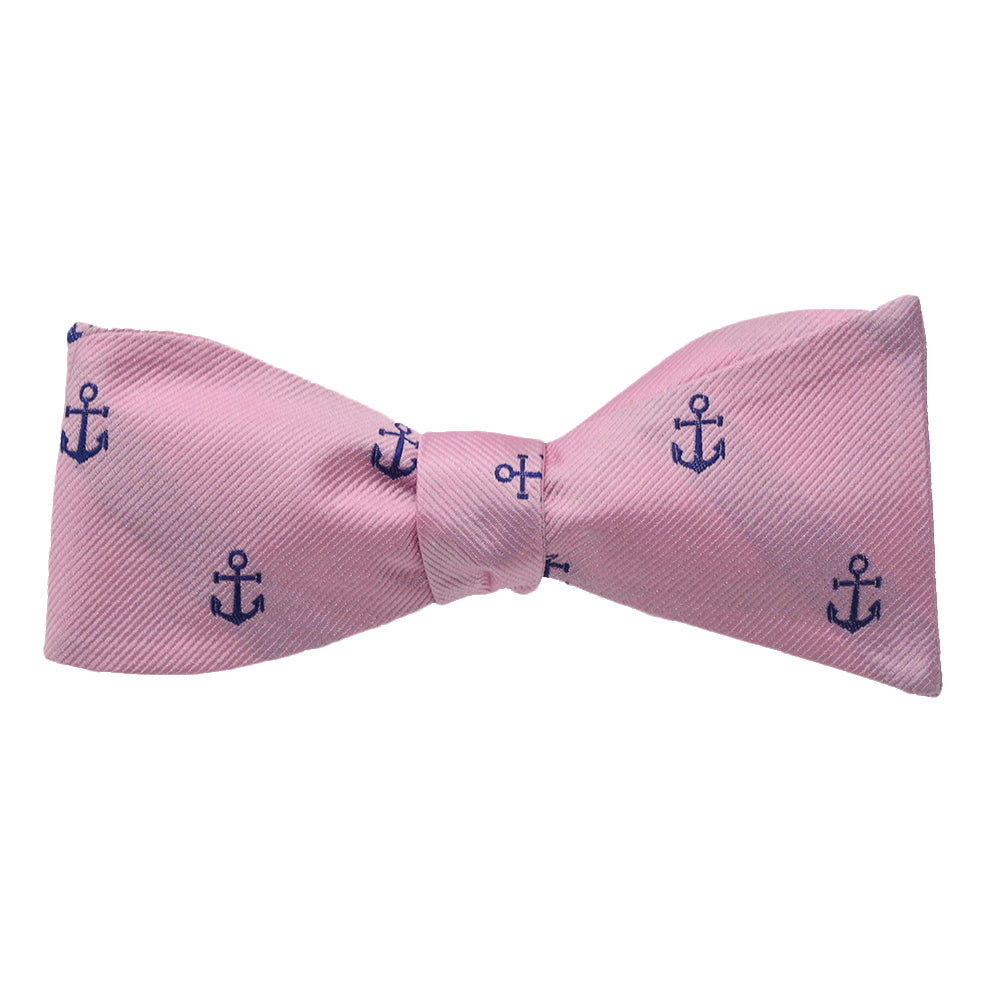Anchor Bow Tie - Navy on Pink, Woven Silk - SummerTies