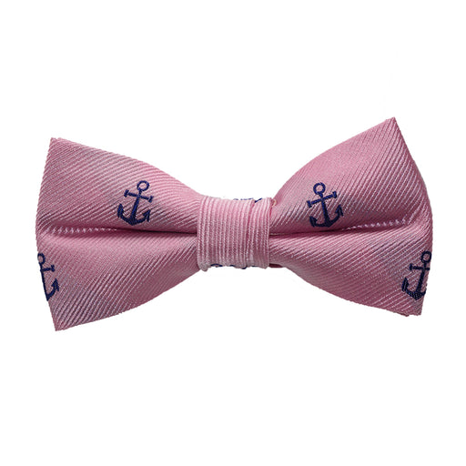 Anchor Bow Tie - Navy on Pink, Woven Silk, Pre-Tied for Kids