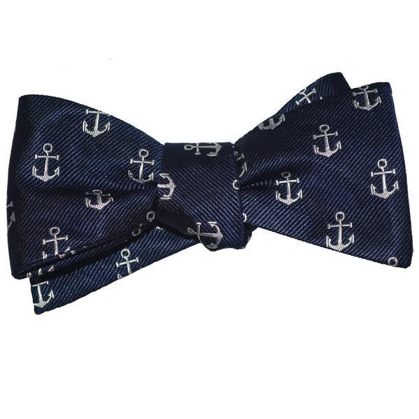 Anchor Bow Tie - White on Navy, Woven Silk - SummerTies