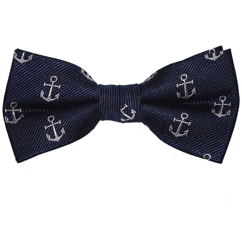 Anchor Bow Tie - White on Navy, Woven Silk, Pre-Tied for Kids - SummerTies