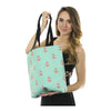 Anchor Tote Bag - Coral on Light Green
