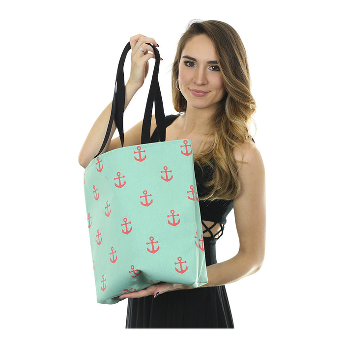 Anchor Tote Bag - Coral on Light Green - SummerTies