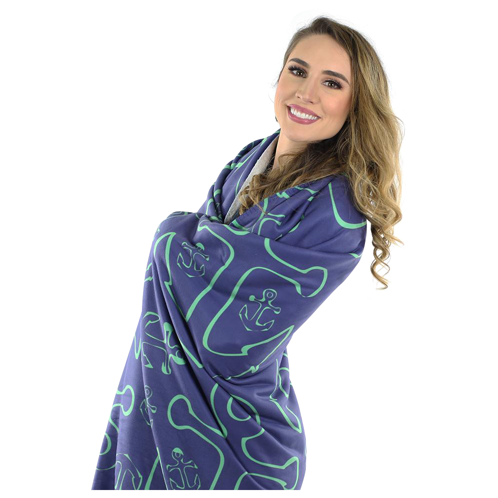 Anchor Dream Fleece Blanket - Green on Navy - SummerTies