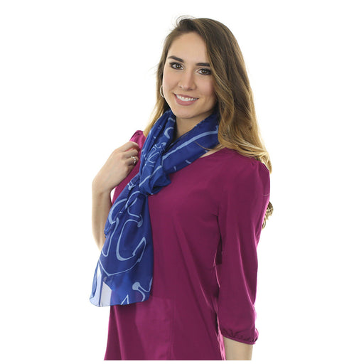 Anchor Dream Long Scarf - Navy Blue - SummerTies