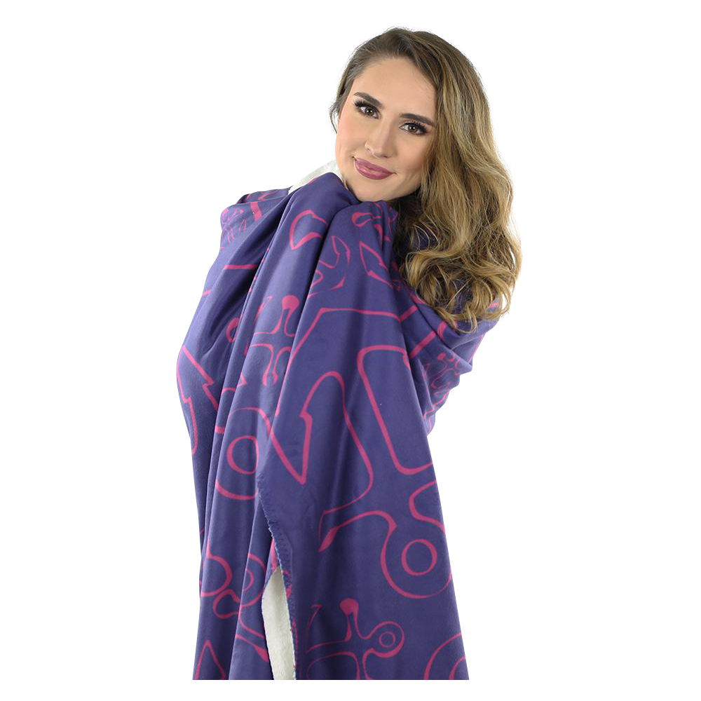 Anchor Dream Fleece Blanket - Pink on Navy - SummerTies