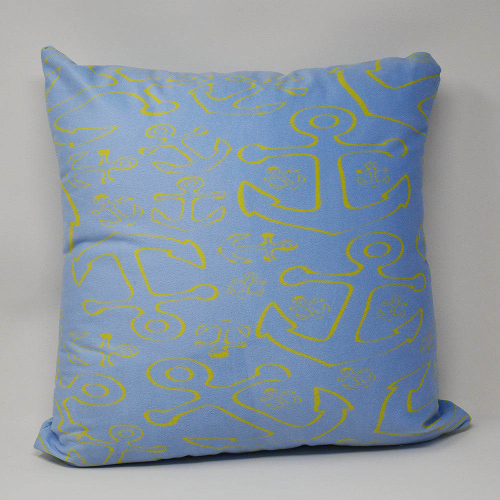 "Anchor Dream Light Blue Pillow 16"" x 16"" - Faux Suede - SummerTies"