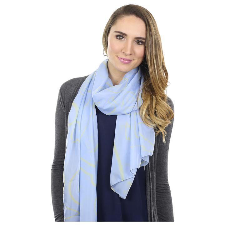 Anchor Dream Long Scarf - Yellow on Light Blue - SummerTies