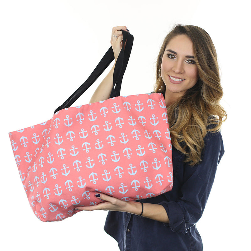 Anchor Weekender Bag - Lt Blue on Coral - SummerTies