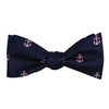 Anchor Bow Tie - Pink on Navy, Woven Silk