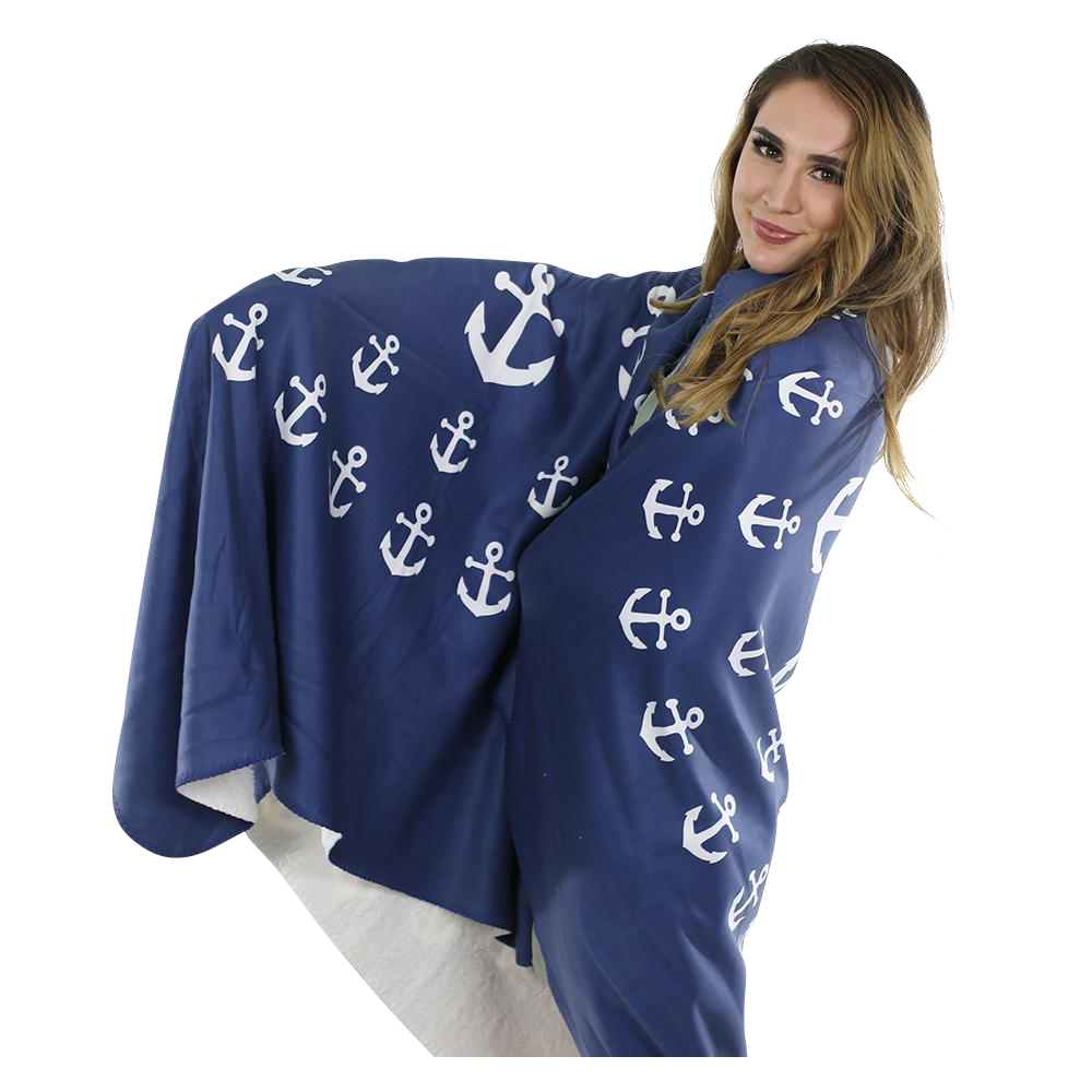 Anchor Pinwheel Fleece Blanket - White on Navy - SummerTies
