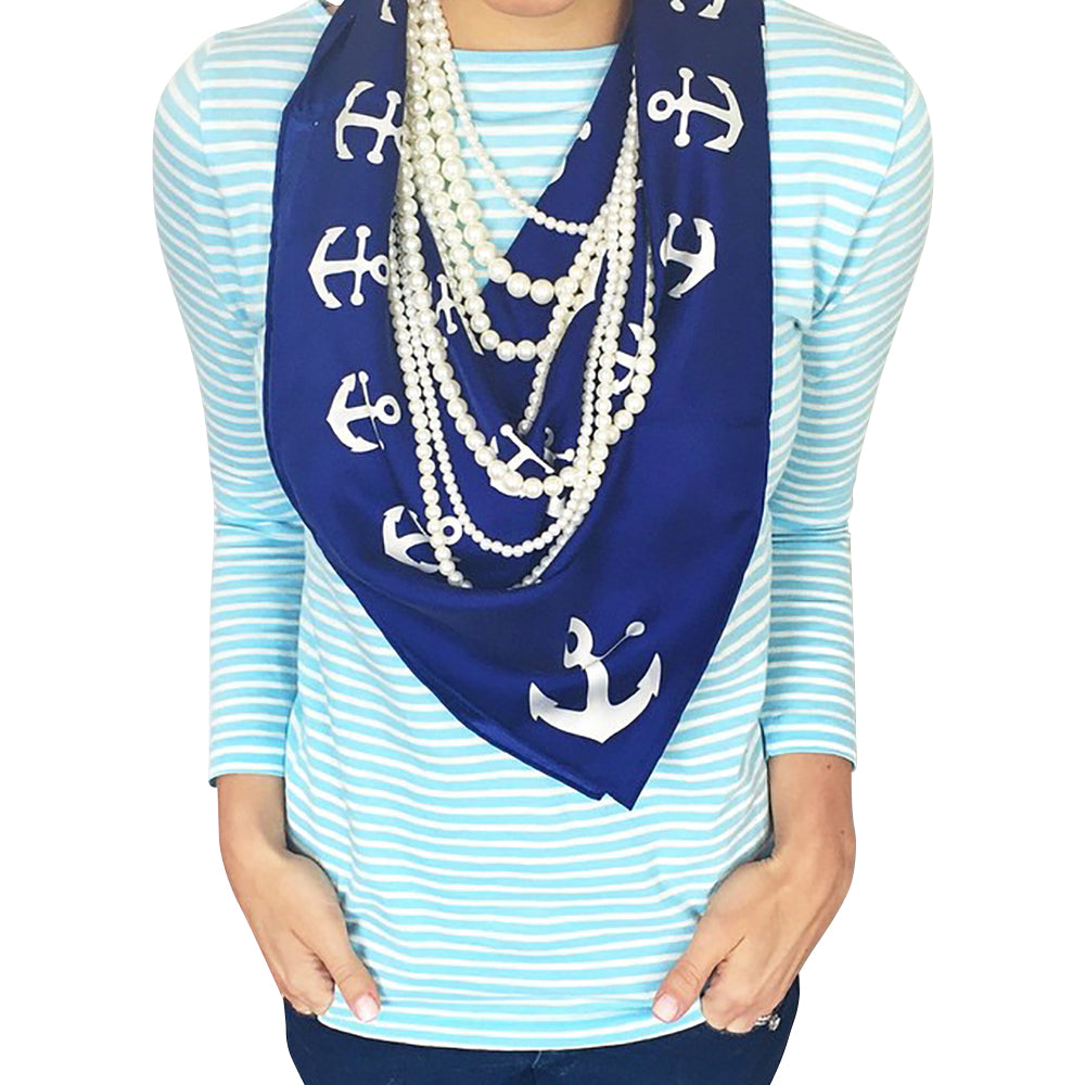Anchor Pinwheel Scarf - Navy - SummerTies