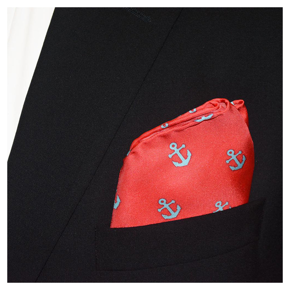 Anchor Pocket Square - Light Blue on Coral - SummerTies