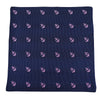 Anchor Pocket Square - Pink on Navy, Woven Silk