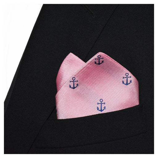 Anchor Pocket Square - Navy on Pink, Woven Silk
