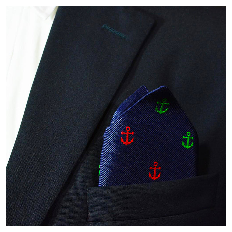 Anchor Pocket Square - Port & Starboard, Woven Silk - SummerTies