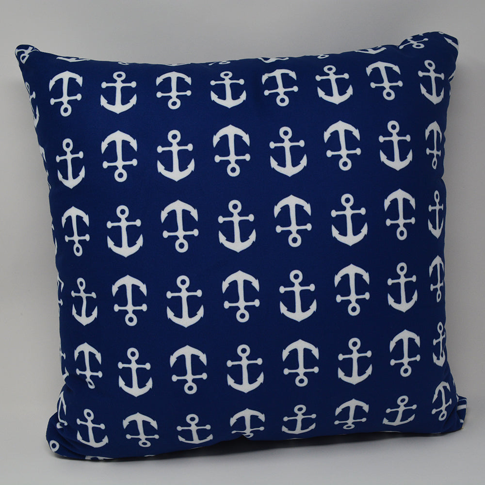 "Anchor Toss Pillow 16"" x 16"" - Faux Suede - SummerTies"