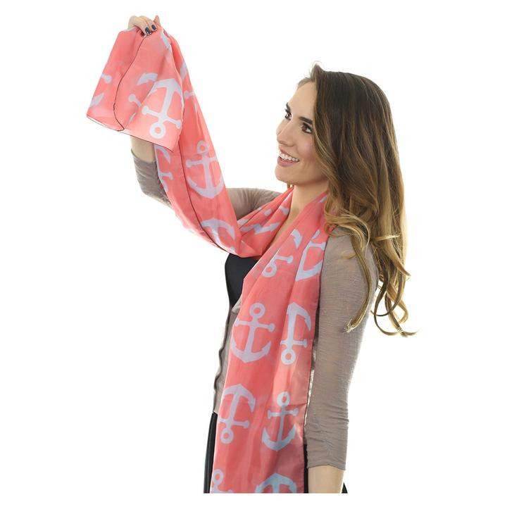 Anchor Toss Long Scarf - Light Blue on Coral - SummerTies