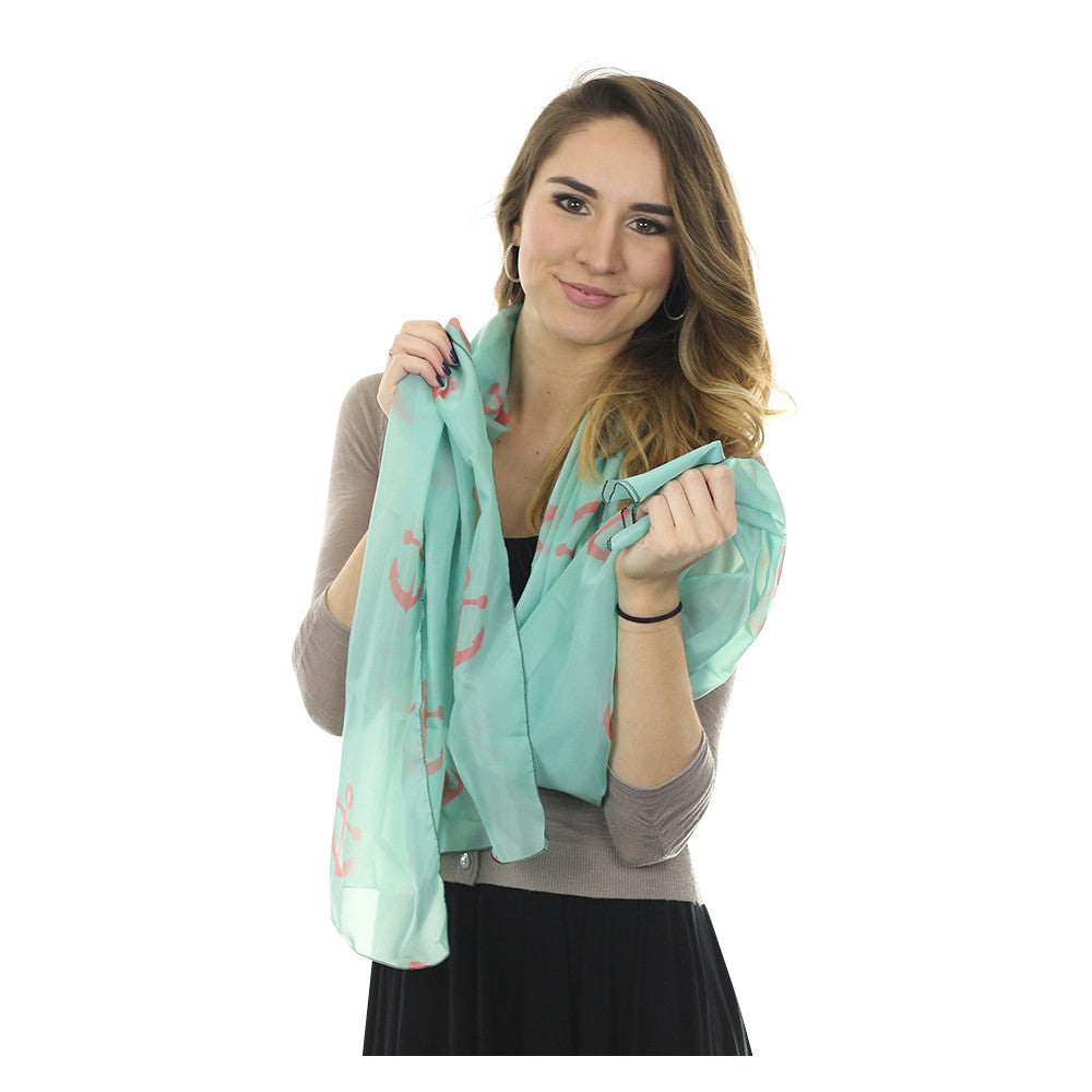 Anchor Toss Long Scarf - Coral on Light Green - SummerTies