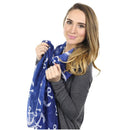 Anchor Toss Long Scarf - White on Navy - SummerTies