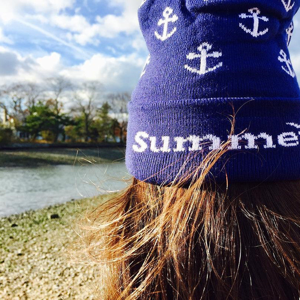Anchor Winter Hat - White on Navy - SummerTies