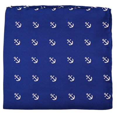 Anchor Pocket Square - Navy - SummerTies  - 4