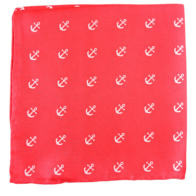Anchor Pocket Square - Port (Coral Red) - SummerTies