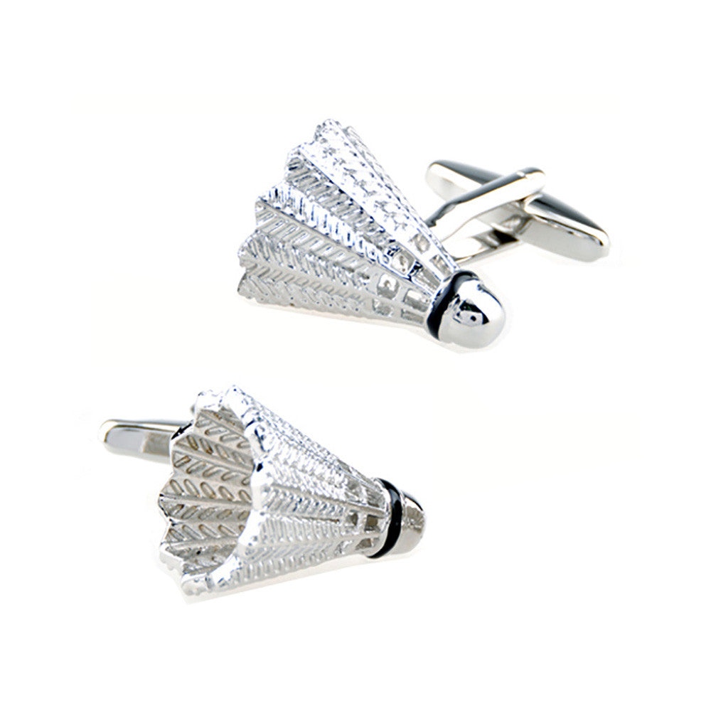 Badminton Cufflinks - 3D, Silver - SummerTies