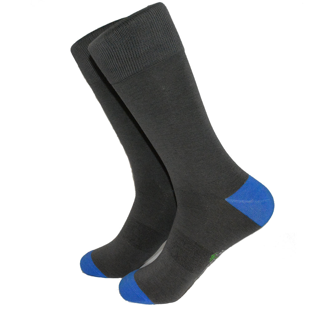 Solid Gray with Blue Toe and Heel Socks - Men's Mid Calf