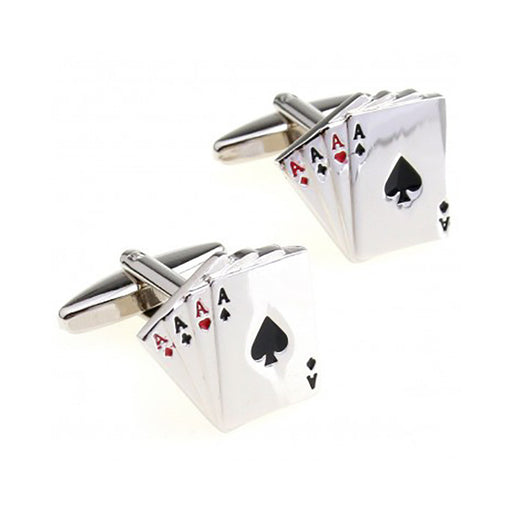 Card Cufflinks - 3D, Red-Black, 4 Aces - SummerTies