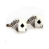 Card Cufflinks - 3D, Black, Flush
