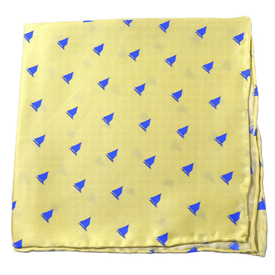 Catboat Pocket Square - Yellow, Printed Silk - SummerTies  - 4