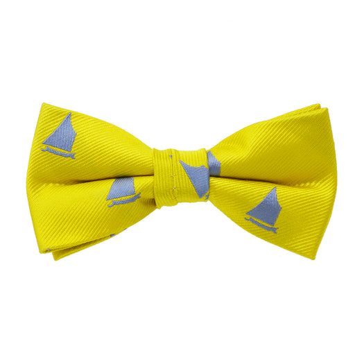 Catboat Bow Tie - Blue on Yellow, Woven Silk, Pre-Tied for Kids