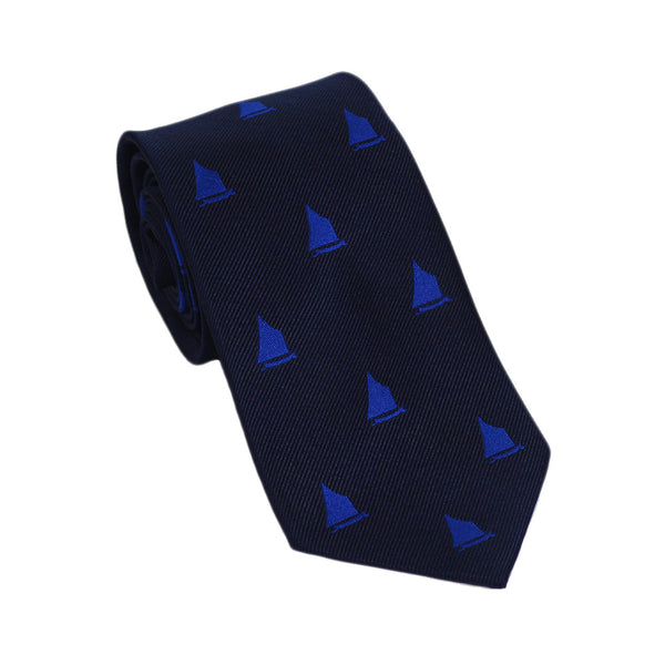 Sailboat Necktie - Navy, Woven Silk - SummerTies