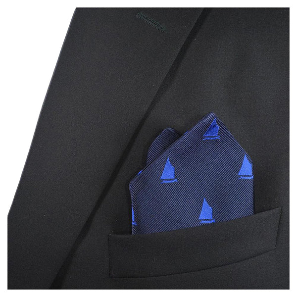 Sailboat Pocket Square - Navy, Woven Silk - SummerTies