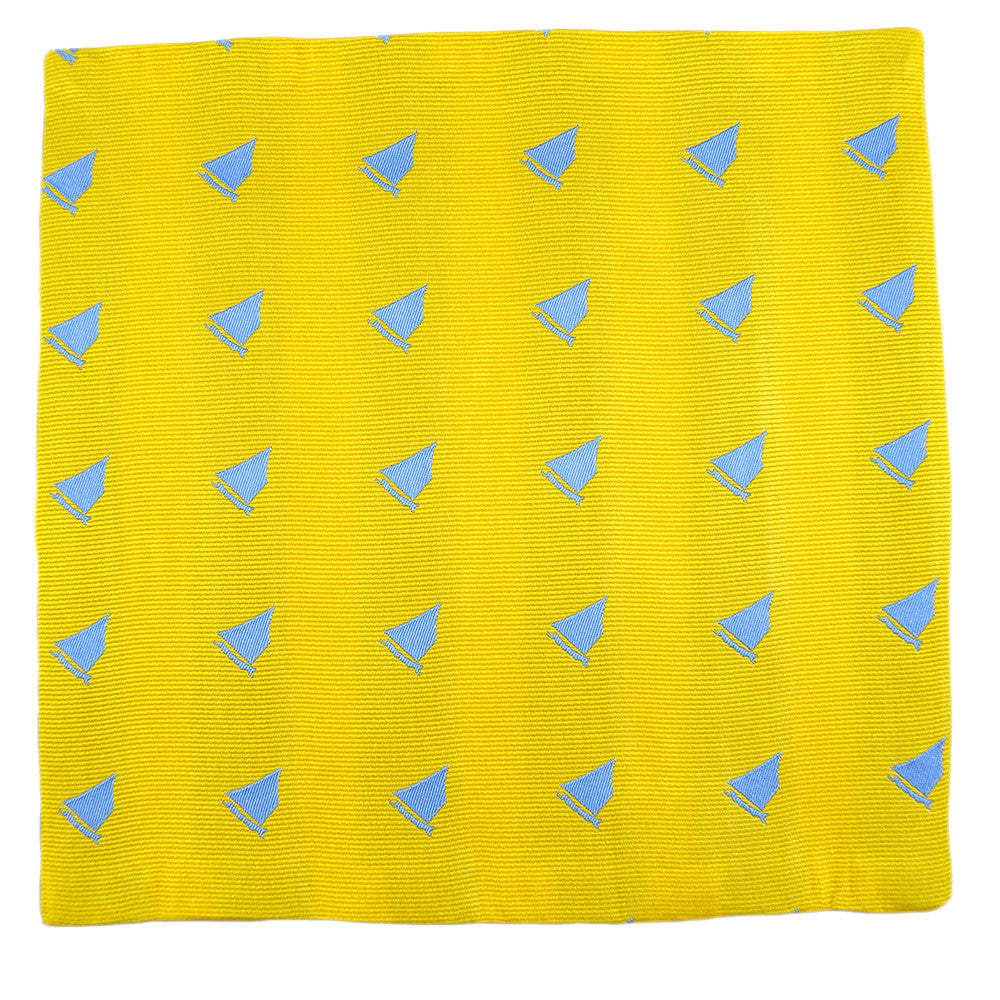 Catboat Pocket Square - Yellow, Woven Silk - SummerTies