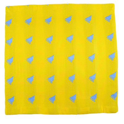 Catboat Pocket Square - Yellow, Woven Silk - SummerTies  - 2