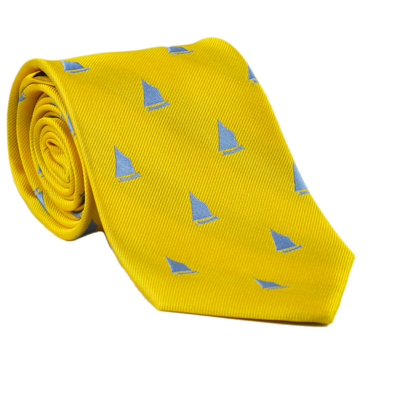 Sailboat Necktie - Yellow, Woven Silk - SummerTies