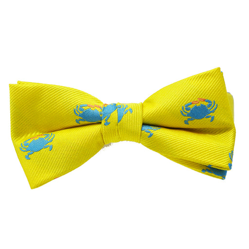 Crab Bow Tie - Yellow, Woven Silk, Pre-Tied for Kids - SummerTies