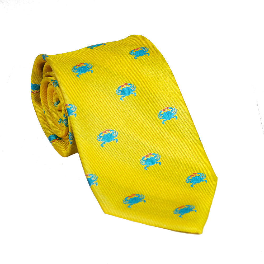 Crab Necktie - Yellow, Woven Silk - SummerTies