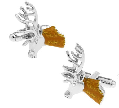Deer Head Cufflinks - 3D, Silver with Enamel - SummerTies