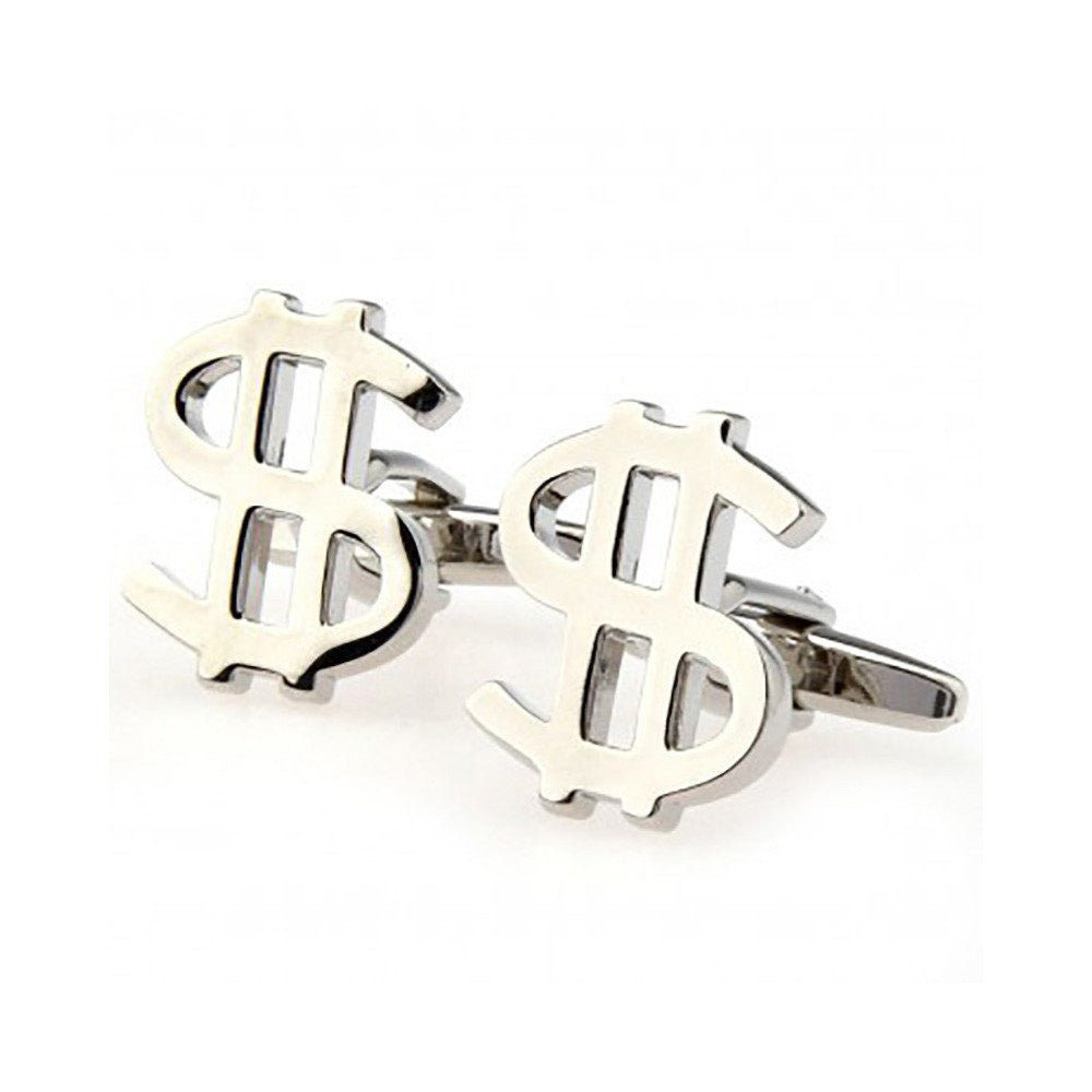 Dollar Sign Cufflinks - 3D, Silver - SummerTies