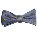 Dragonfly Bow Tie - Yellow on Gray, Woven Silk - SummerTies