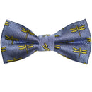 Dragonfly Bow Tie - Yellow on Gray, Woven Silk, Pre-Tied for Kids - SummerTies