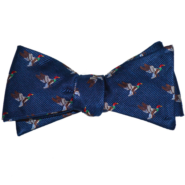Duck Bow Tie - Navy, Woven Silk - SummerTies
