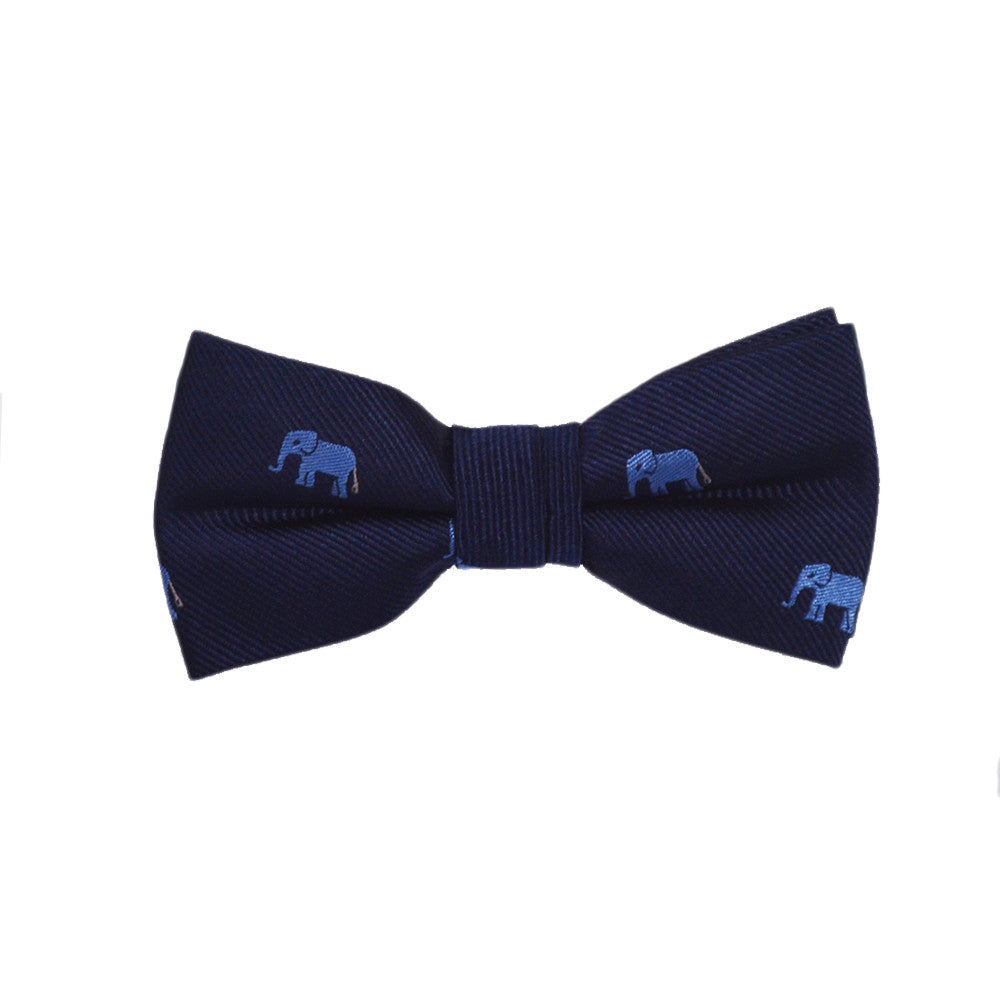 Elephant Bow Tie - Blue on Navy, Woven Silk, Pre-Tied for Kids - SummerTies