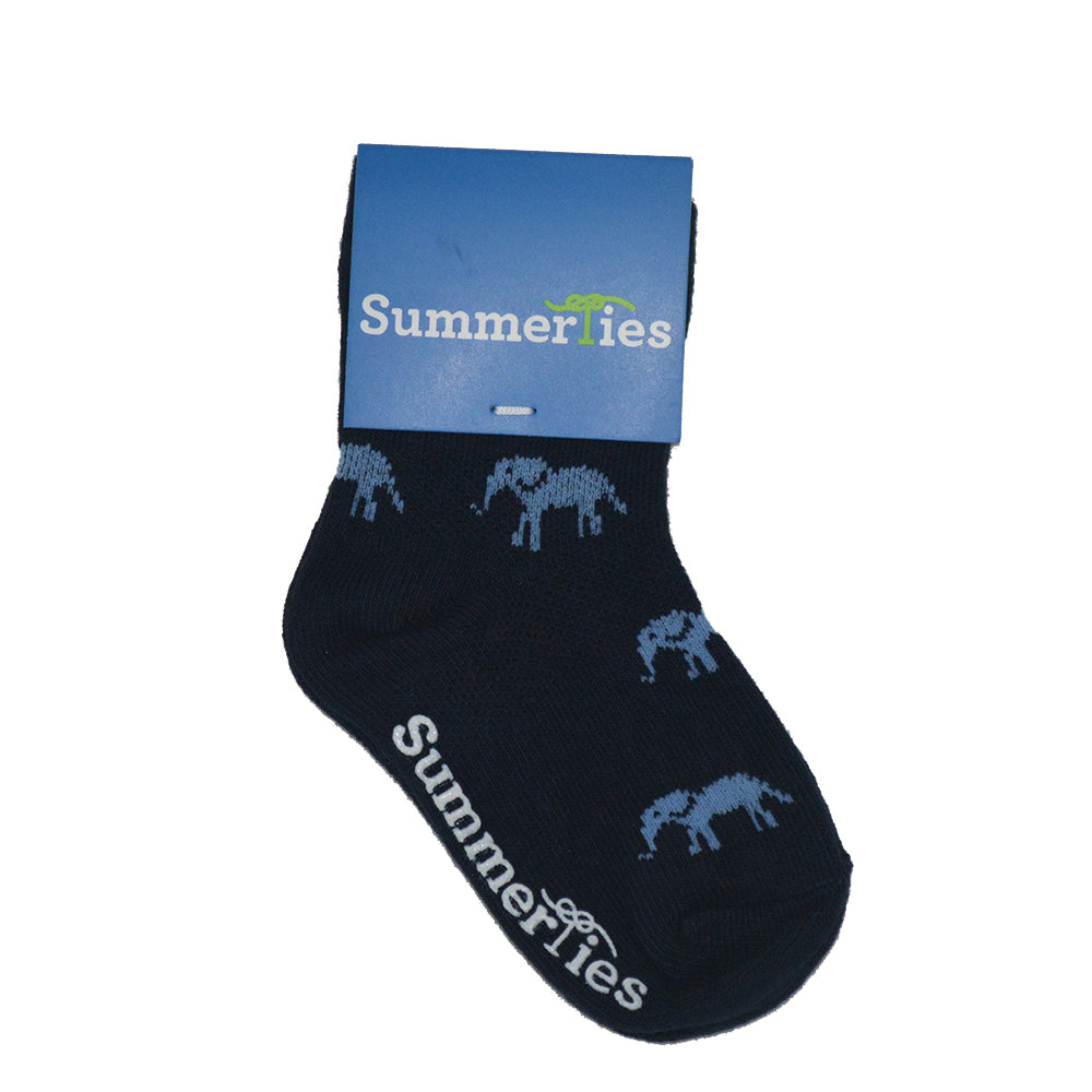 Elephant Socks - Toddler Crew Sock - Blue on Navy - SummerTies