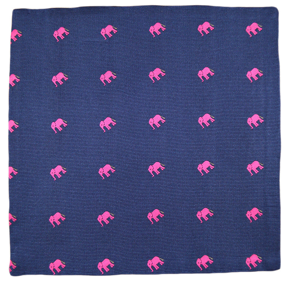 Elephant Pocket Square - Pink on Navy - SummerTies