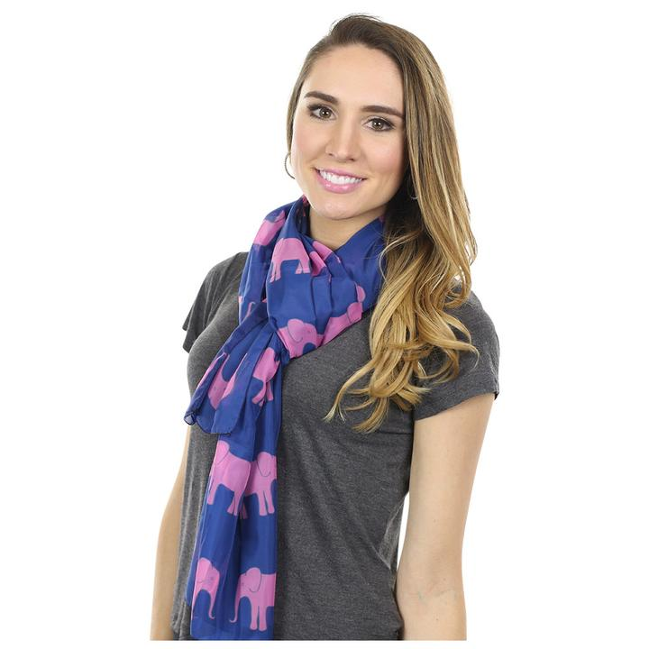 Elephant Long Scarf - Pink on Navy - SummerTies